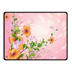 Beautiful Flowers On Soft Pink Background Double Sided Fleece Blanket (Small)