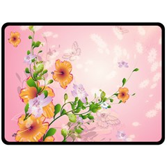 Beautiful Flowers On Soft Pink Background Double Sided Fleece Blanket (large)