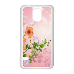 Beautiful Flowers On Soft Pink Background Samsung Galaxy S5 Case (White)