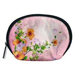 Beautiful Flowers On Soft Pink Background Accessory Pouches (Medium)