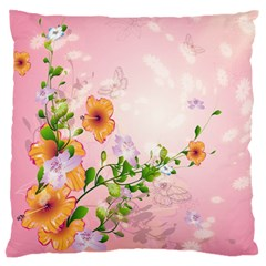 Beautiful Flowers On Soft Pink Background Large Flano Cushion Cases (two Sides)