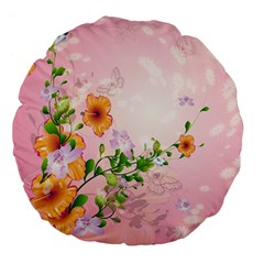 Beautiful Flowers On Soft Pink Background Large 18  Premium Flano Round Cushions