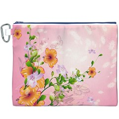 Beautiful Flowers On Soft Pink Background Canvas Cosmetic Bag (XXXL)