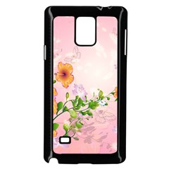 Beautiful Flowers On Soft Pink Background Samsung Galaxy Note 4 Case (Black)