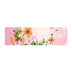 Beautiful Flowers On Soft Pink Background Satin Scarf (oblong)