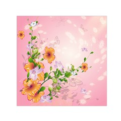 Beautiful Flowers On Soft Pink Background Small Satin Scarf (Square)