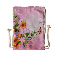 Beautiful Flowers On Soft Pink Background Drawstring Bag (Small)