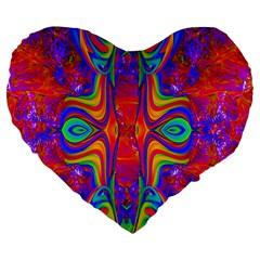 Abstract 1 Large 19  Premium Flano Heart Shape Cushions