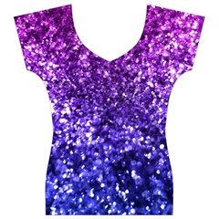 Midnight Glitter Women s V-Neck Cap Sleeve Top