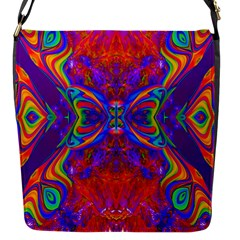 Butterfly Abstract Flap Closure Messenger Bag (S)