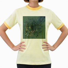Vintage Floral In Blue Colors Women s Fitted Ringer T Shirts