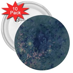 Vintage Floral In Blue Colors 3  Buttons (10 pack)