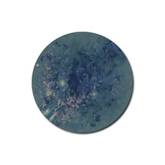 Vintage Floral In Blue Colors Rubber Coaster (Round)