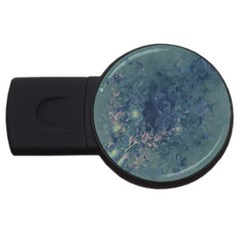 Vintage Floral In Blue Colors USB Flash Drive Round (2 GB)