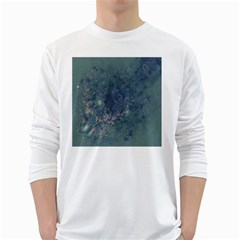Vintage Floral In Blue Colors White Long Sleeve T Shirts