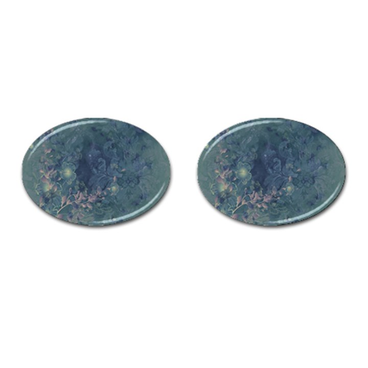 Vintage Floral In Blue Colors Cufflinks (Oval)