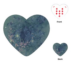 Vintage Floral In Blue Colors Playing Cards (Heart)