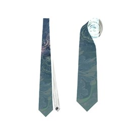 Vintage Floral In Blue Colors Neckties (One Side)