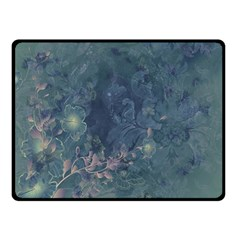 Vintage Floral In Blue Colors Fleece Blanket (Small)