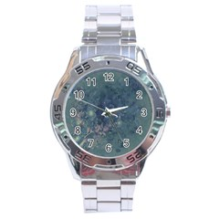 Vintage Floral In Blue Colors Stainless Steel Men s Watch