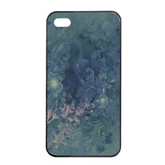 Vintage Floral In Blue Colors Apple iPhone 4/4s Seamless Case (Black)