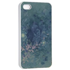 Vintage Floral In Blue Colors Apple iPhone 4/4s Seamless Case (White)