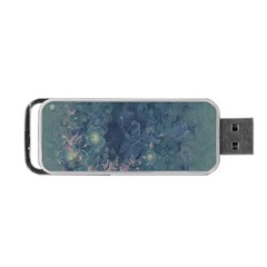 Vintage Floral In Blue Colors Portable USB Flash (Two Sides)