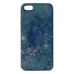 Vintage Floral In Blue Colors Apple iPhone 5 Premium Hardshell Case