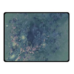 Vintage Floral In Blue Colors Double Sided Fleece Blanket (Small)