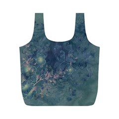 Vintage Floral In Blue Colors Full Print Recycle Bags (M)