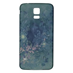 Vintage Floral In Blue Colors Samsung Galaxy S5 Back Case (White)