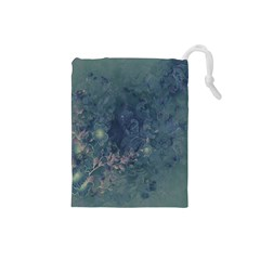 Vintage Floral In Blue Colors Drawstring Pouches (Small)