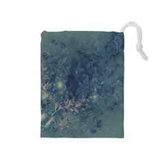 Vintage Floral In Blue Colors Drawstring Pouches (Medium)