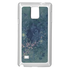Vintage Floral In Blue Colors Samsung Galaxy Note 4 Case (White)
