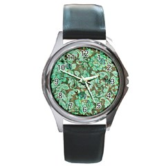 Beautiful Floral Pattern In Green Round Metal Watches