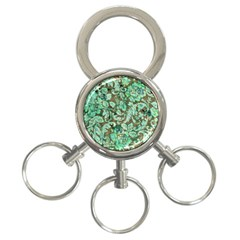 Beautiful Floral Pattern In Green 3-Ring Key Chains