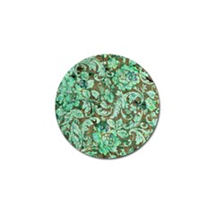 Beautiful Floral Pattern In Green Golf Ball Marker