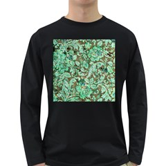 Beautiful Floral Pattern In Green Long Sleeve Dark T-Shirts