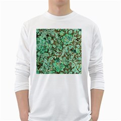 Beautiful Floral Pattern In Green White Long Sleeve T-Shirts