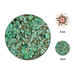 Beautiful Floral Pattern In Green Playing Cards (Round)
