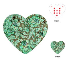 Beautiful Floral Pattern In Green Playing Cards (heart)