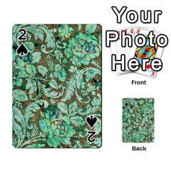 Beautiful Floral Pattern In Green Playing Cards 54 Designs