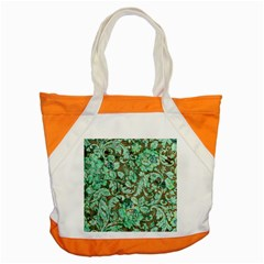Beautiful Floral Pattern In Green Accent Tote Bag
