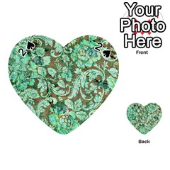 Beautiful Floral Pattern In Green Playing Cards 54 (Heart)
