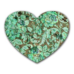 Beautiful Floral Pattern In Green Heart Mousepads