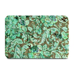 Beautiful Floral Pattern In Green Plate Mats
