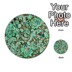 Beautiful Floral Pattern In Green Multi-purpose Cards (Round)