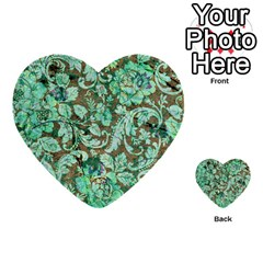 Beautiful Floral Pattern In Green Multi Purpose Cards (heart)