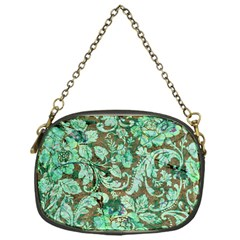 Beautiful Floral Pattern In Green Chain Purses (One Side)