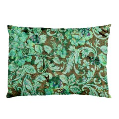 Beautiful Floral Pattern In Green Pillow Cases